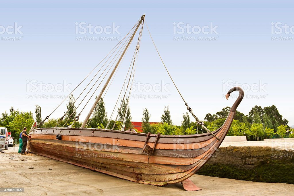 Viking boat maintenance royalty-free stock photo