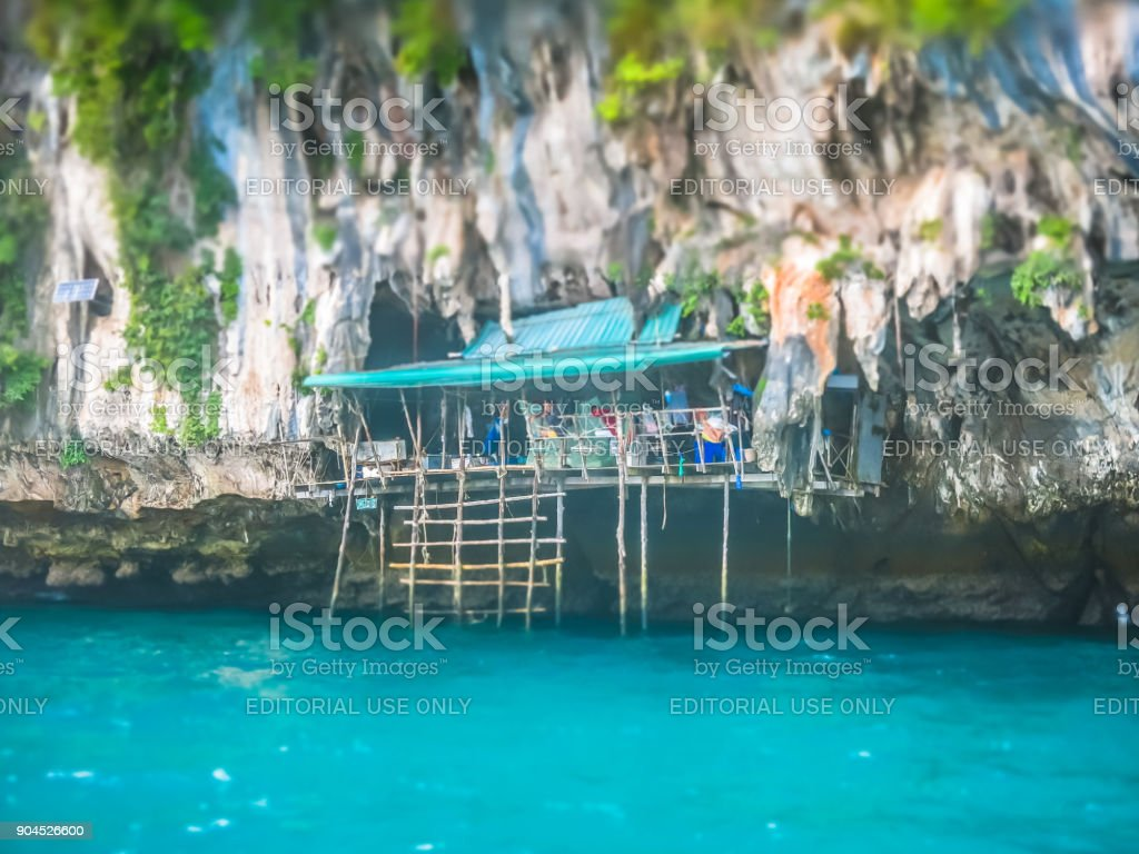 Viking Cave (Tham Phaya Nak), Birds Nest Soup Harvest, Phi Phi Islands, Krabi, Thailand stock photo
