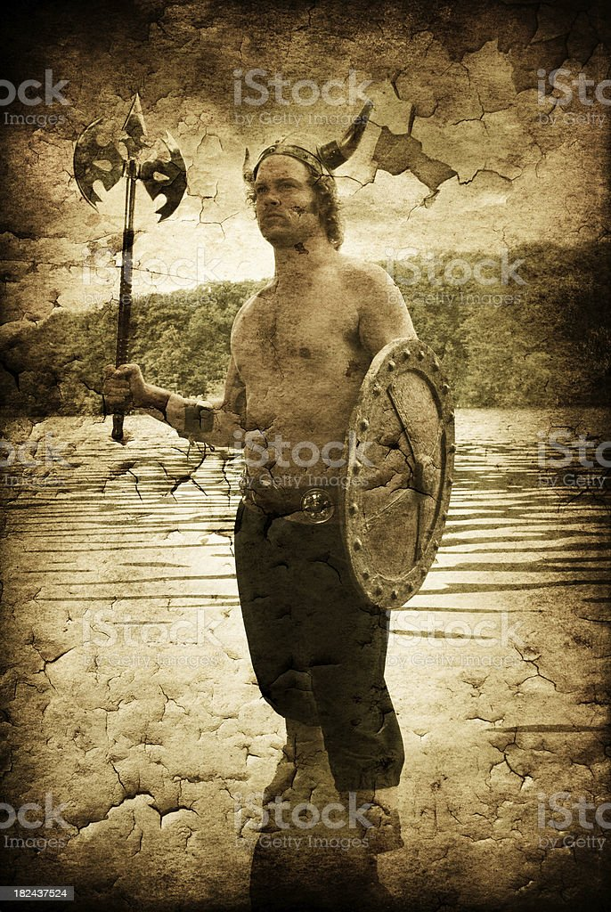 Viking coming out of the water royalty-free stock photo