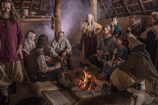 A viking family in a viking village settlement stock photo