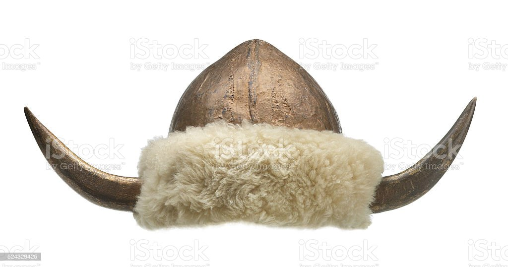 Viking hat with big horns and fur stock photo
