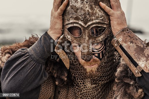 istock Viking helmet and equipment 999122874