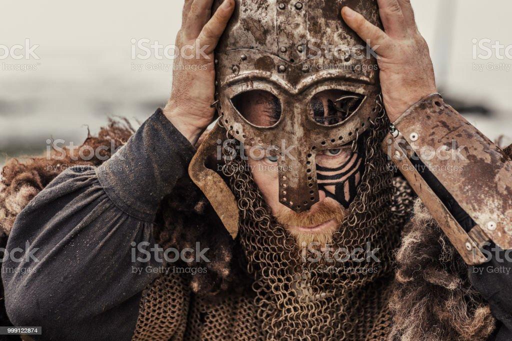 Viking helmet and equipment stock photo
