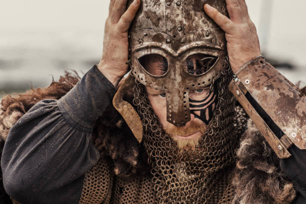 viking helmet and equipment - indumento corazzato foto e immagini stock