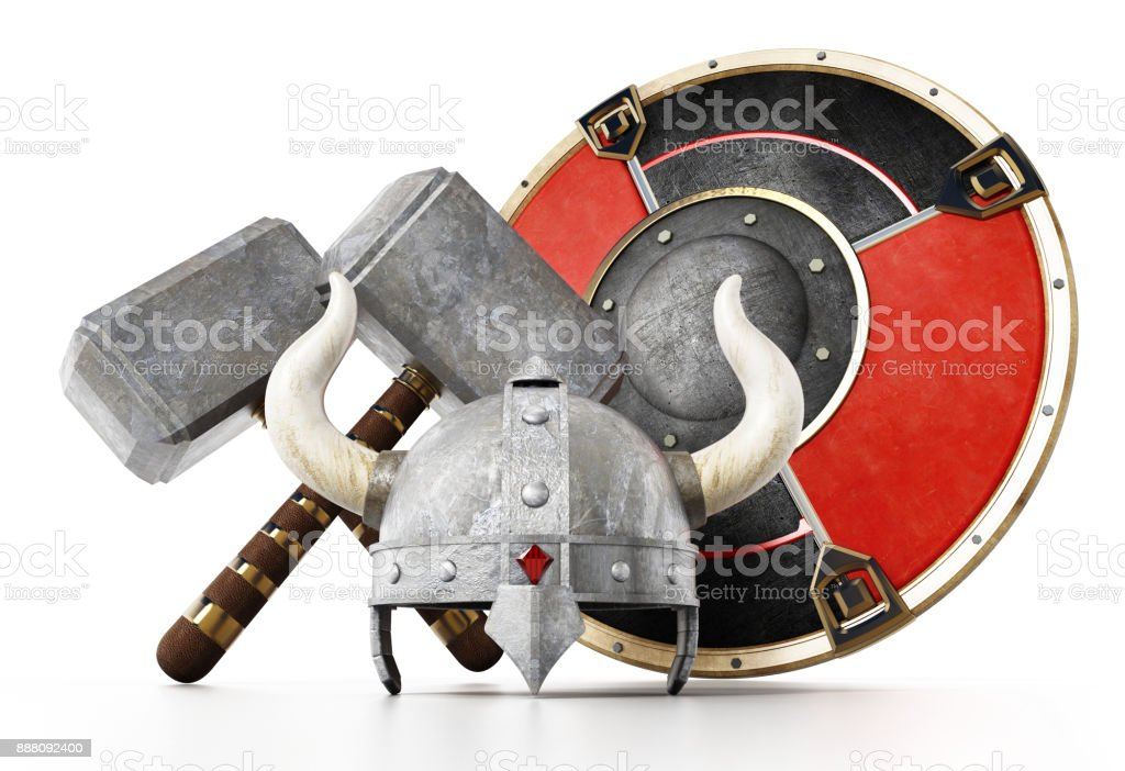 Viking helmet, round shield and hammers isolated on white stock photo