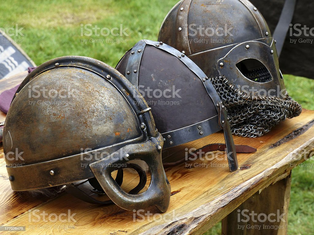 Viking helmets royalty-free stock photo
