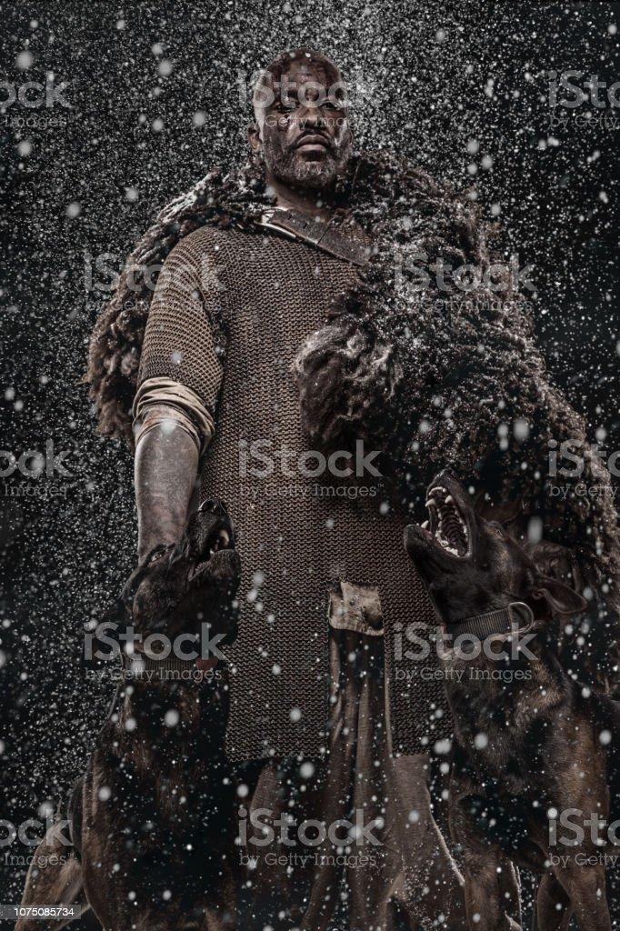 Viking inspired black warrior in a blizzard stock photo