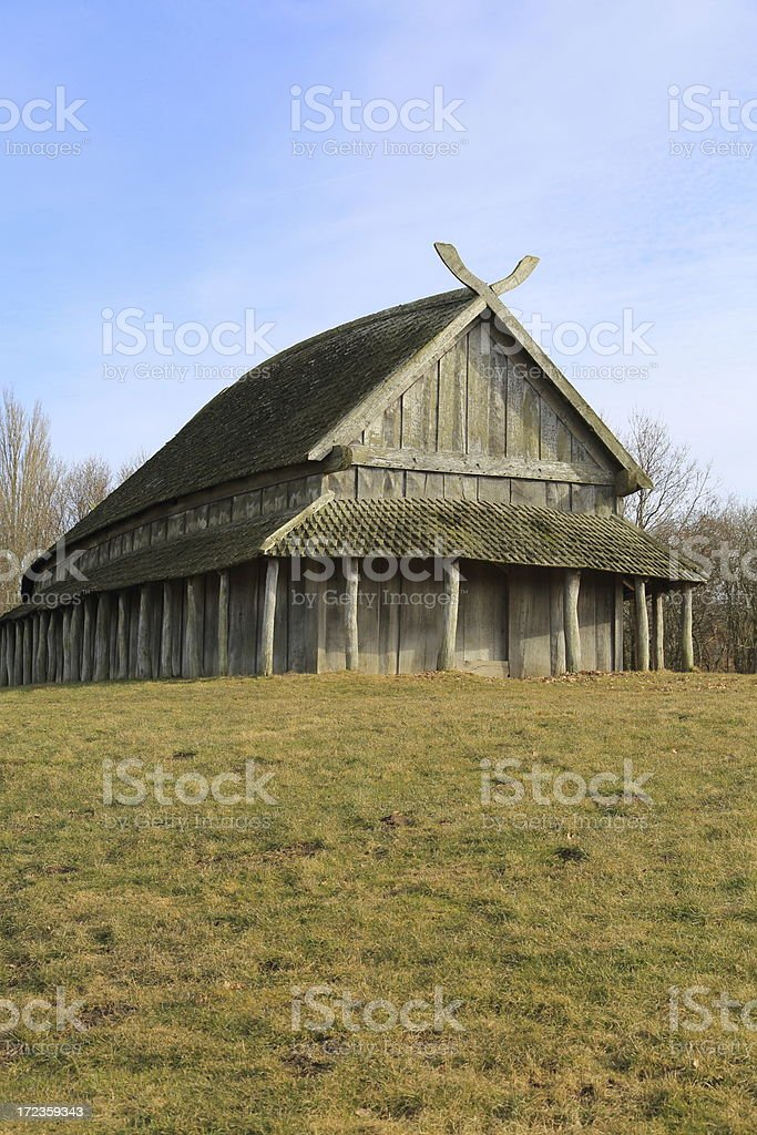 Viking Longhouse at Trelleborg circular fort, Denmark royalty-free stock photo
