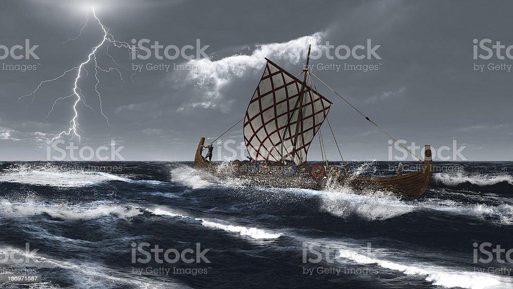 Viking Longship en una tormenta del océano Atlántico. - foto de stock