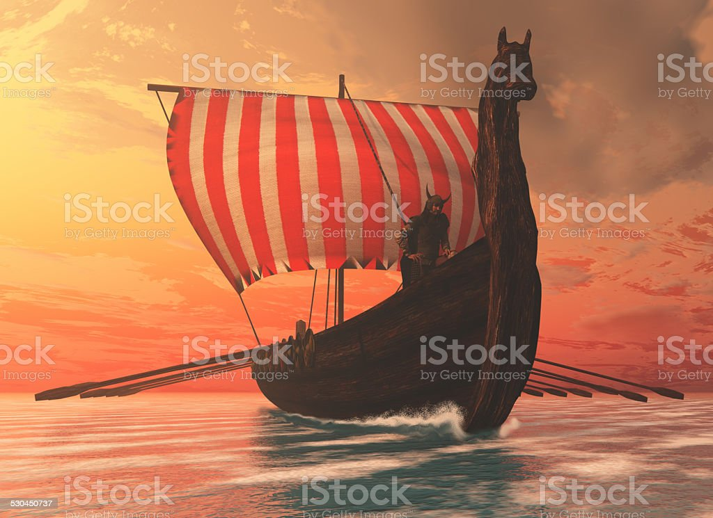 Viking Man and Longship stock photo