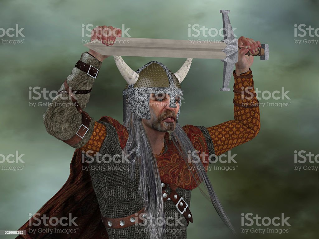 Viking Man with Sword stock photo