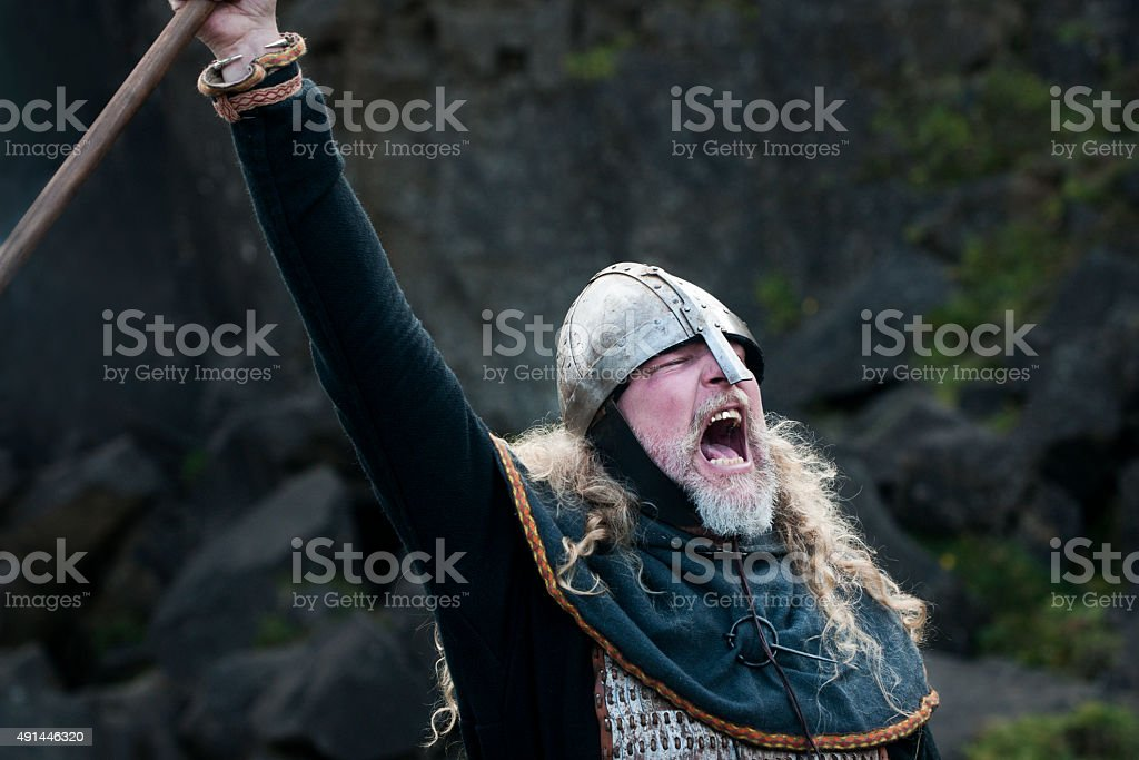 Viking man yells a victory cry stock photo