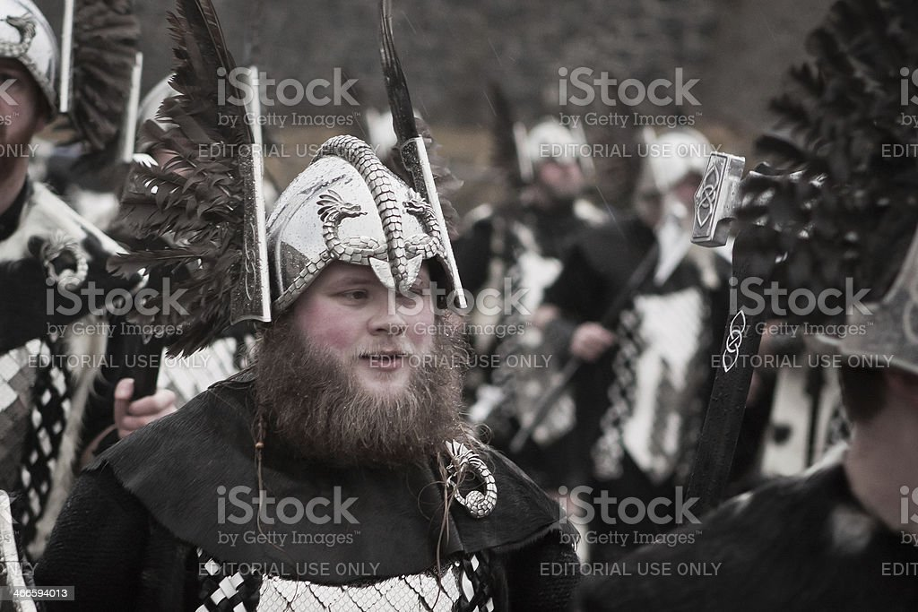 Viking Marching with his Squad during Up Helly Aa royalty-free stock photo