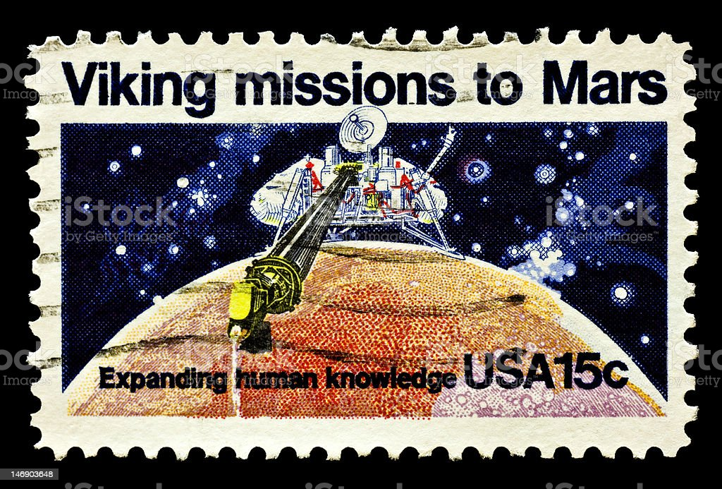 Viking Mission to Mars Postal Issue stock photo