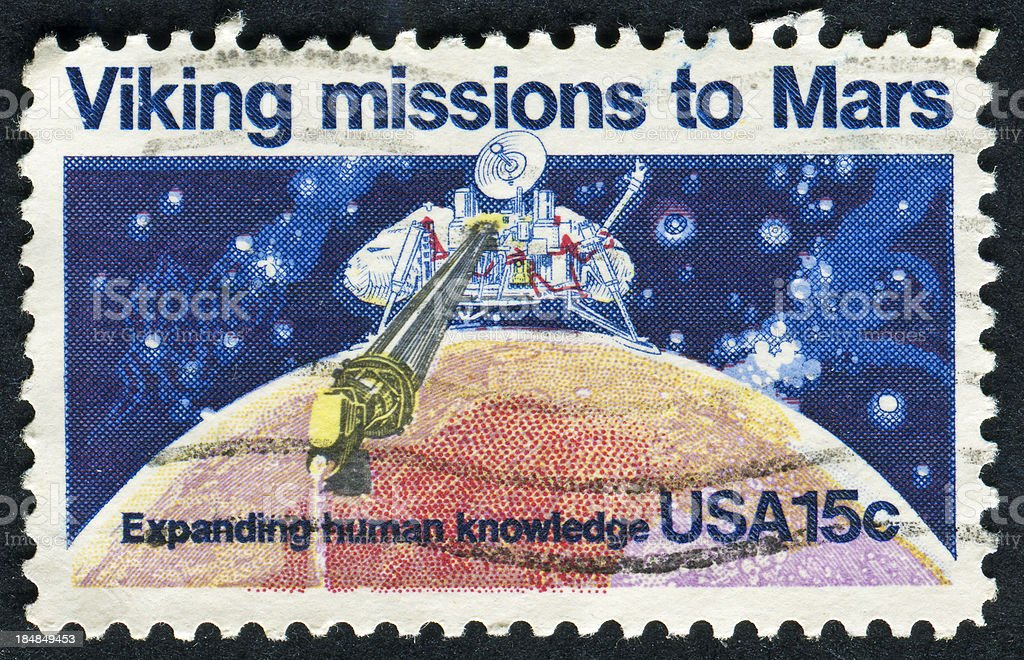 Viking Missions To Mars Stamp stock photo
