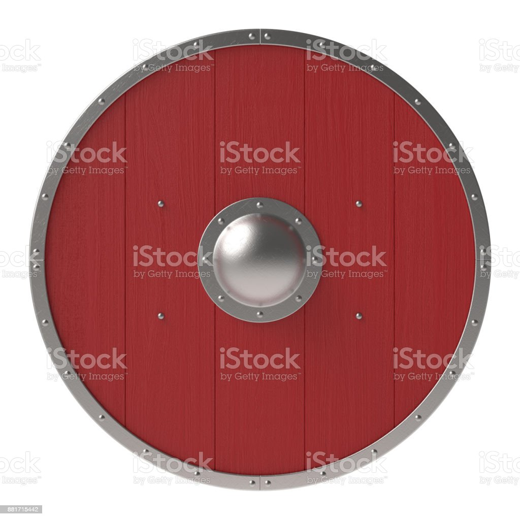 Viking red shield stock photo