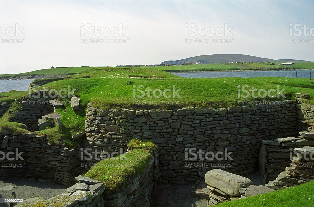 Viking ruins, Jarslhof, Shetland, Scotland stock photo