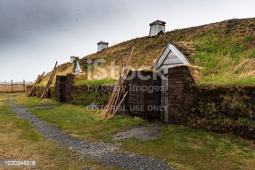 Newfoundland, Canada - June 13, 2018: L'Anse aux Meadows National Historic Site.  L'Anse aux Meadows is an archaeological site on the northernmost tip of the island of Newfoundland in the Canadian province of Newfoundland and Labrador. Discovered in 1960, it is the only certain site of a Norse or Viking settlement in North America.