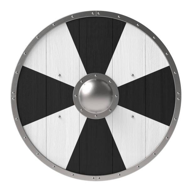 Viking Shield With Black White Cross Pattern Stock Photo
