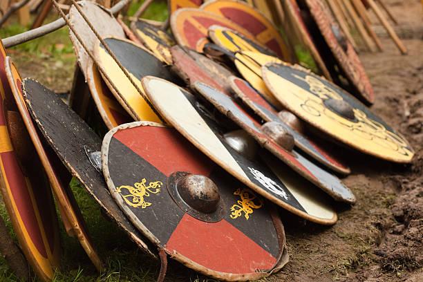 viking shields stock photo