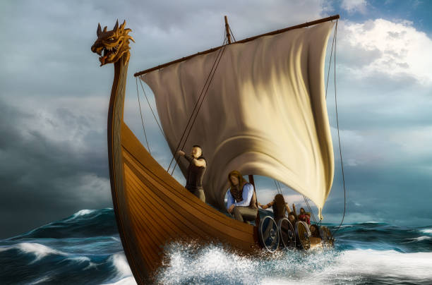 Viking ship in the storm stock photo