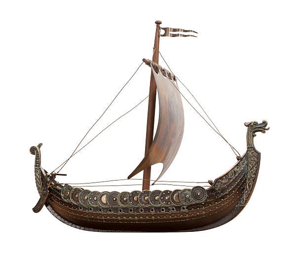 A Viking ship isolated on white stock photo
