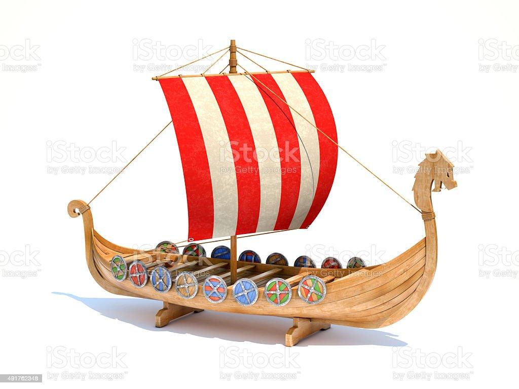 Viking ship model stock photo