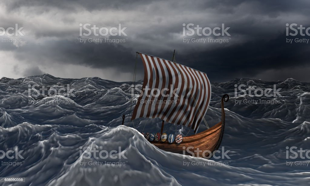 Viking ship on the dramatic wavy sea in the storm. - foto de stock