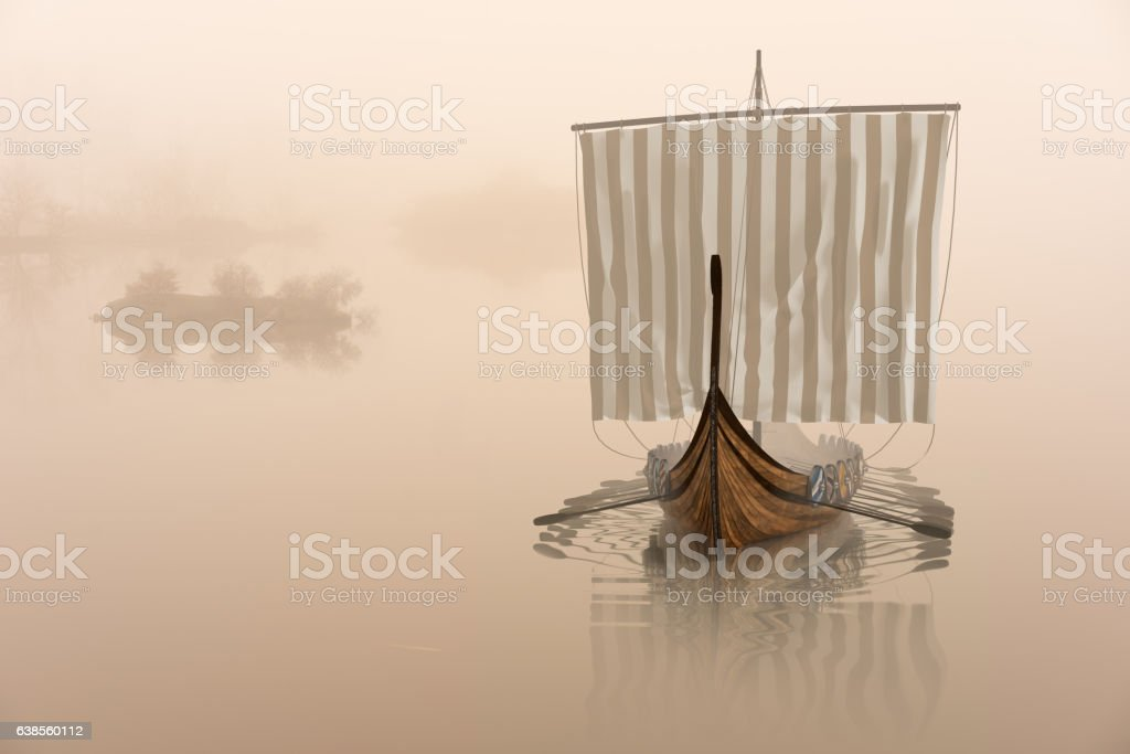 Viking ship on the water in the mystical fog. stock photo