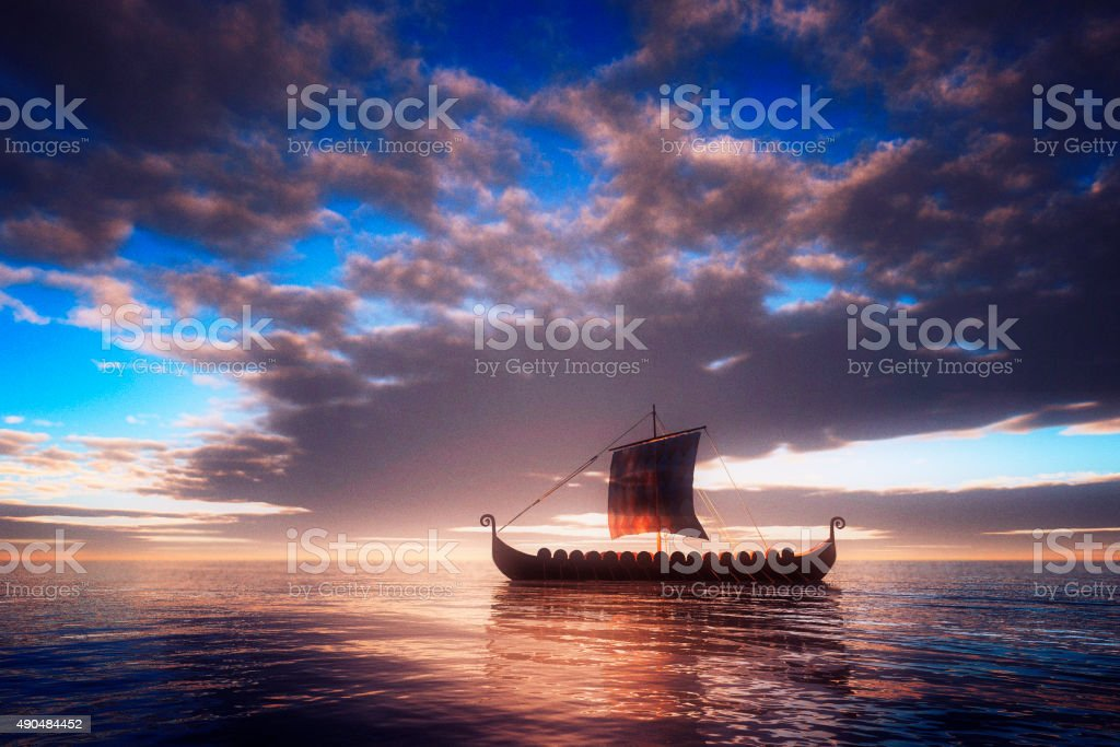Viking ship sailing towards unknown land stock photo