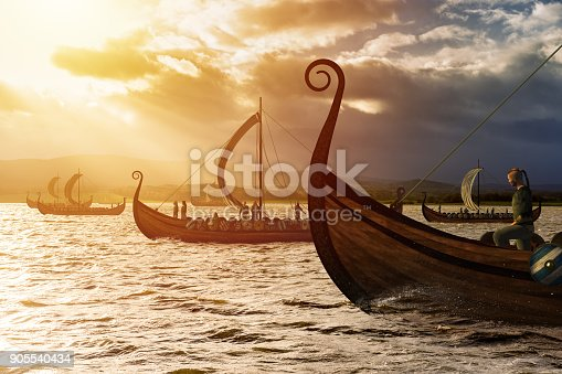 istock Viking ships on the water under the sunlight and dark storm 905540434