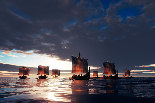 Viking ships sailing towards unknown land.