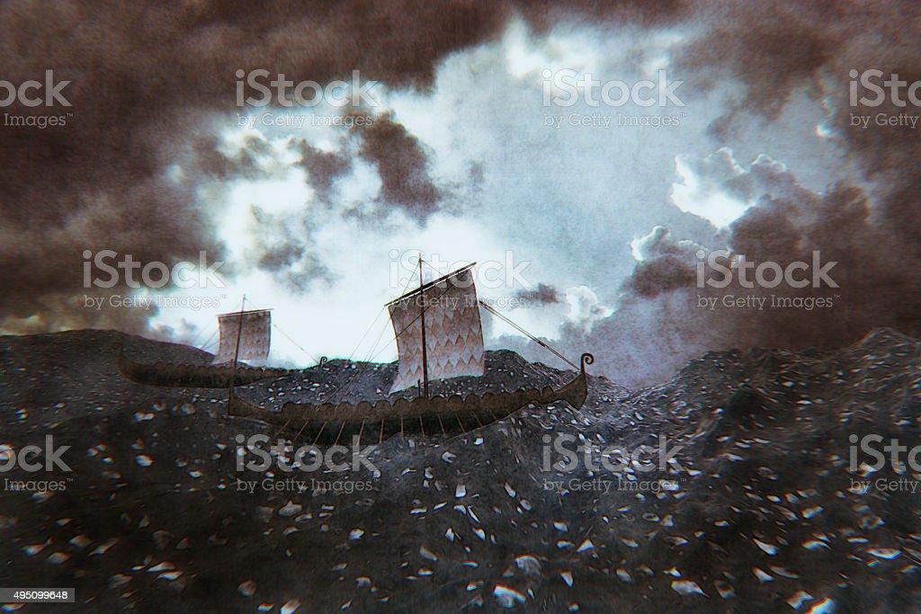 Viking los barcos navegar hacia desconocida tierra - foto de stock