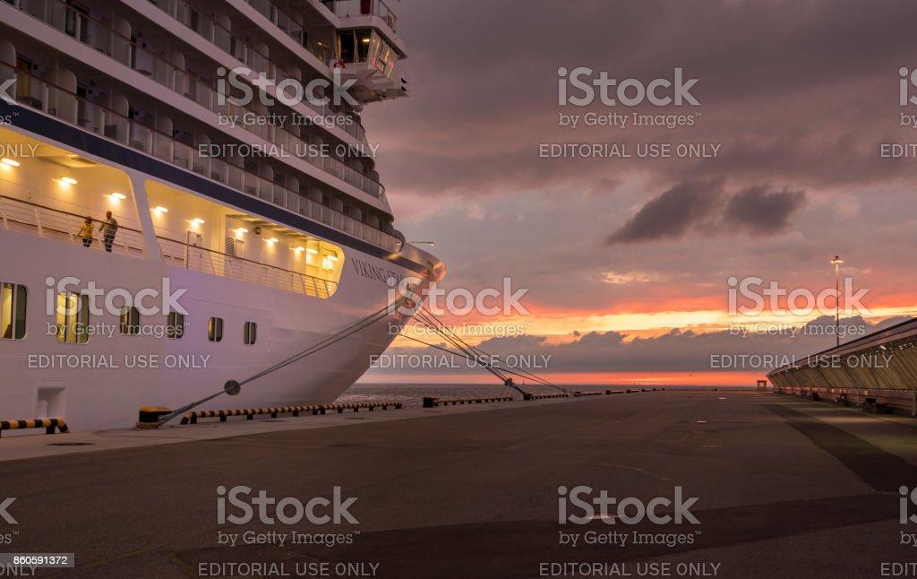 Viking Star at sunset in St Petersburg stock photo