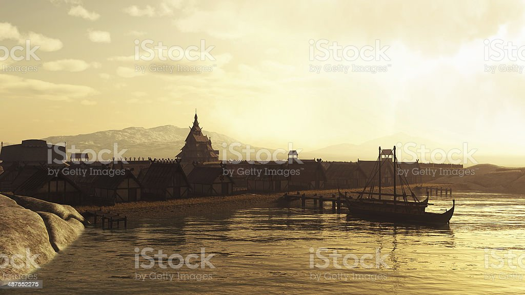 Viking Village at Sunset stock photo