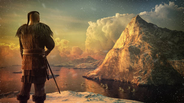 Viking warrior on the high cliff stock photo