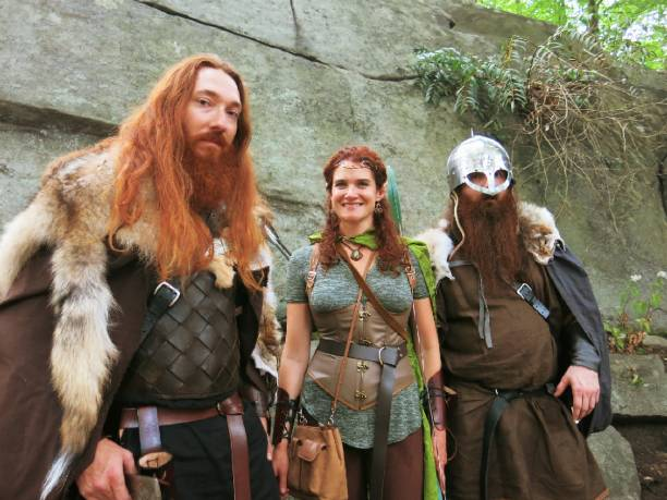 Viking Warriors and Wood Elf Fantasy Princess stock photo