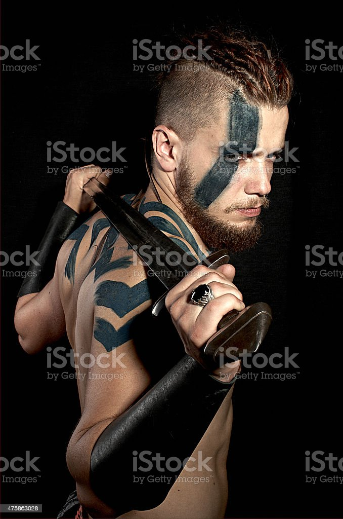 Viking with sword stock photo