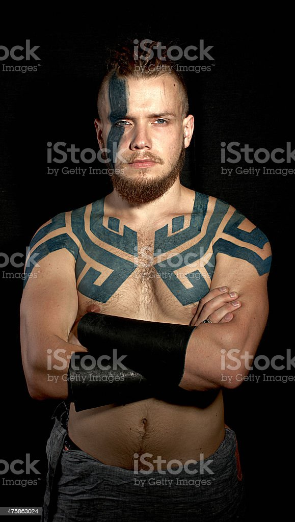 Viking with tattoos stock photo