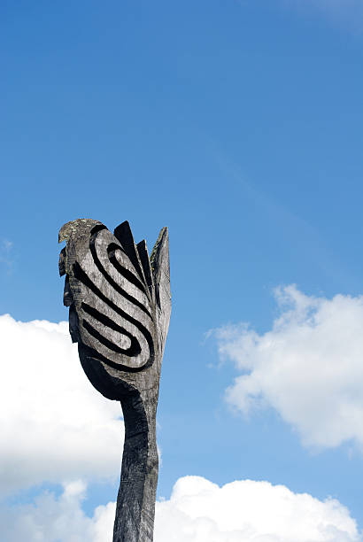 Viking wooden ship mast against cloudy sky stock photo