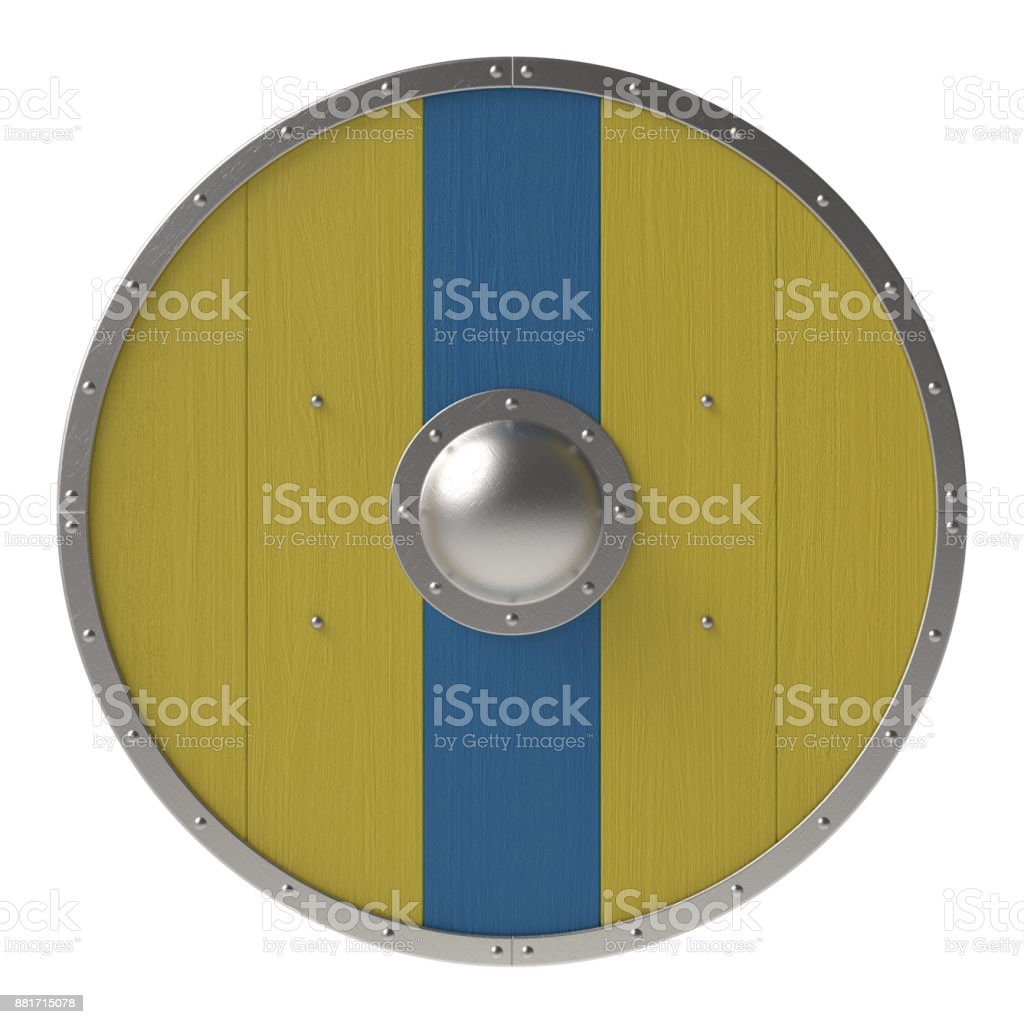Viking yellow shield with blue line stock photo