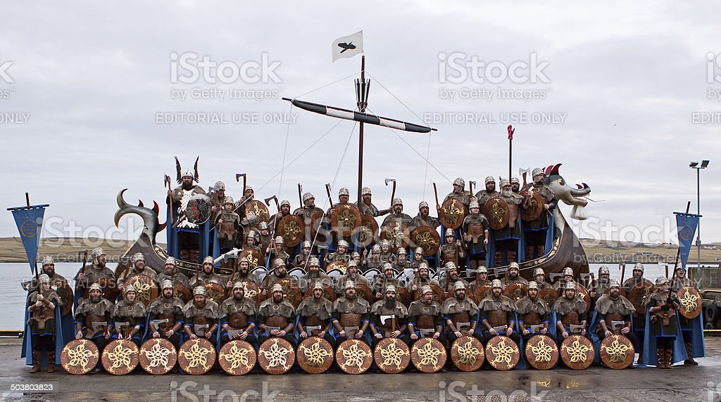 Vikings Aboard the Up Helly Aa Galley stock photo