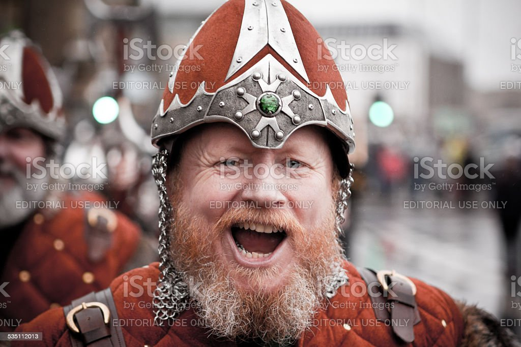 Vikings Marching on Up Helly Aa day 2015 in Shetland stock photo