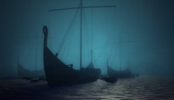 Vikings ships on the blue mysterious water stock photo