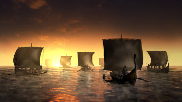 Vikings ships on the foggy water stock photo