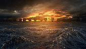 Vikings ships on the horizon of stormy ocean. Mysterious atmosphere under the shining sky.
