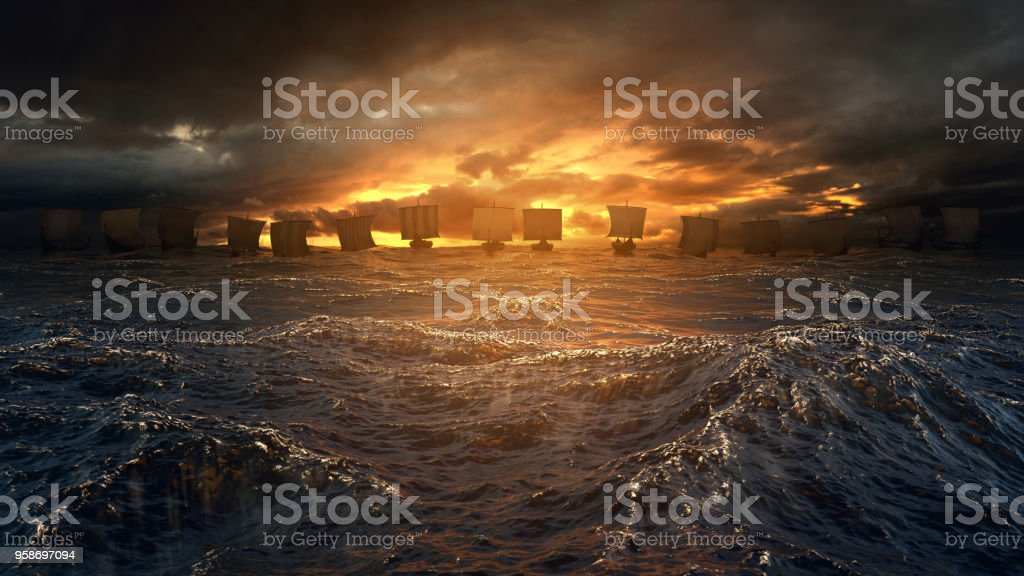 Vikings ships on the stormy sea. stock photo
