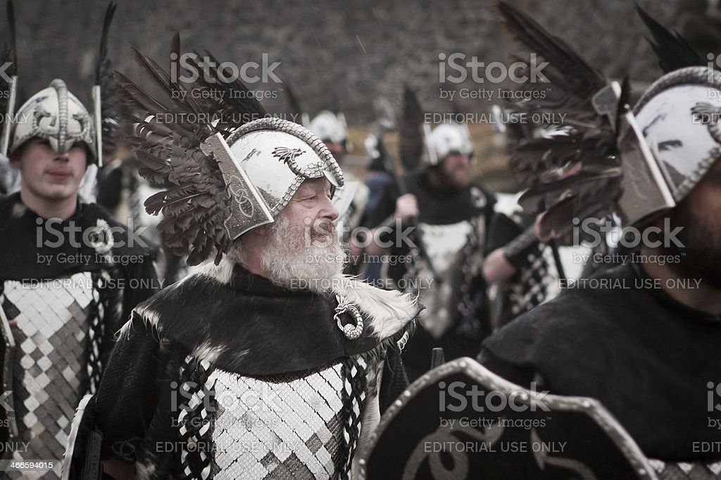 Vikings Walk the Streets of Lerwick During Up Helly Aa stock photo
