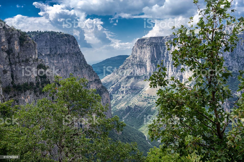 Vikos gorge in Zagoria, Greece. stock photo