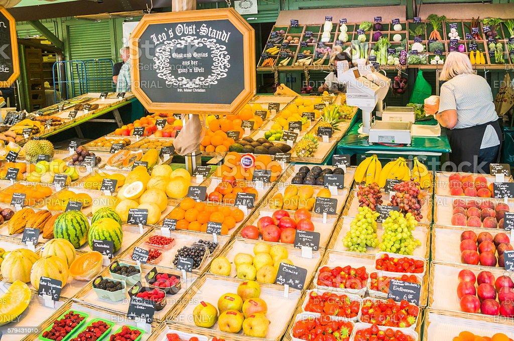 Viktualienmarkt Fruit Seller stock photo
